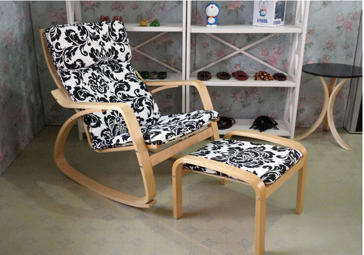 Comfortable Relax Chair Rocking Chair and Stool Set Gliders Rocker Lounger Living Room Furniture Modern Adult Rocking Chair Wood