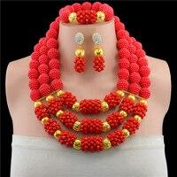 الأحمر النيجيري الخرز الأفريقي مجوهرات المنصوص دبي العروس سعر الخرز مجموعة مجوهرات الزفاف مجموعة الجملة الشحن المجاني 10101