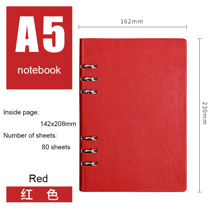 A5 Loose Leaf Notebook 80 Sheets Hardcover Pu Leather Thick Journal Planners Lined Set Writing Notebooks Detachable