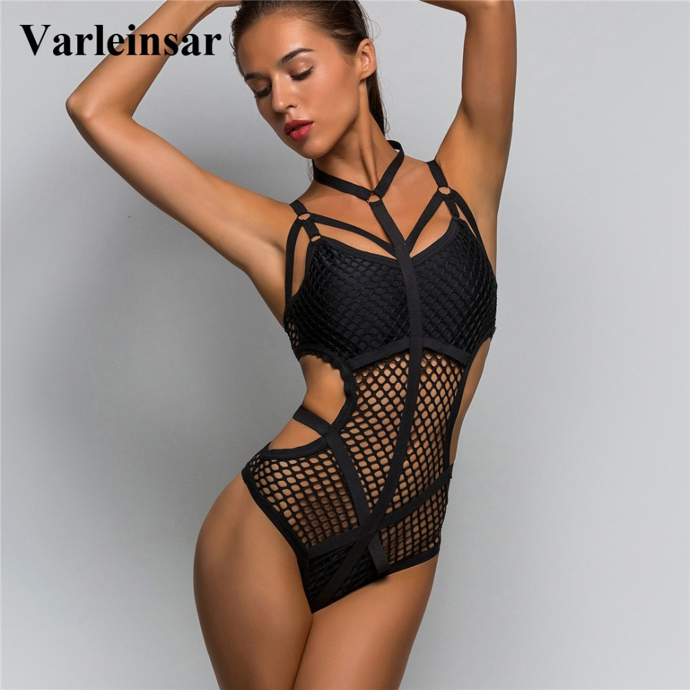 New XS - 4XL 2019 Black Sheer Knit Net Mesh Sexy Women Swimwear One Piece Swimsuit Female Bather Bathing Suit Swim Monokini V536 sexy goth bondage bodysuit