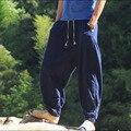 Estilo chinês Masculino Lavagem Com Água de Linho Calças Soltas Masculinos e Plus Size Harem Pants Casuais Bloomers Finas