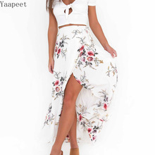 Women Vintage Long Skirts Summer White Floral Print Elegant Beach Maxi Skirt Boho High Waist Asymmetrical Skirt цена