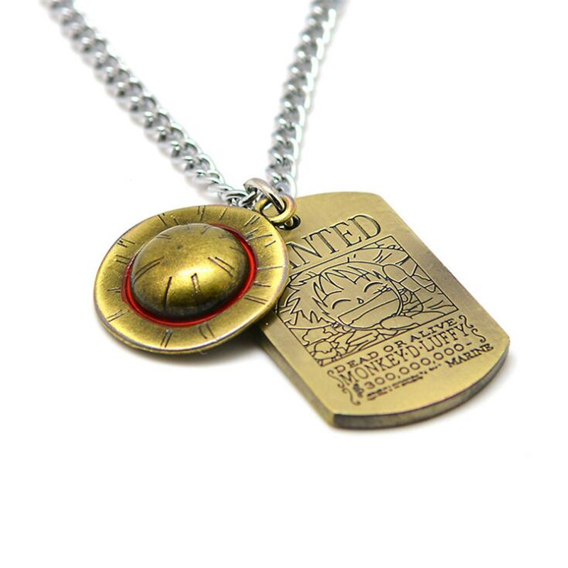 Hot New Japan Anime One Piece Necklace Cosplay Badge Monkey D Luffy Trafalgar Law Army Card Pendant Fans Fancy Gift
