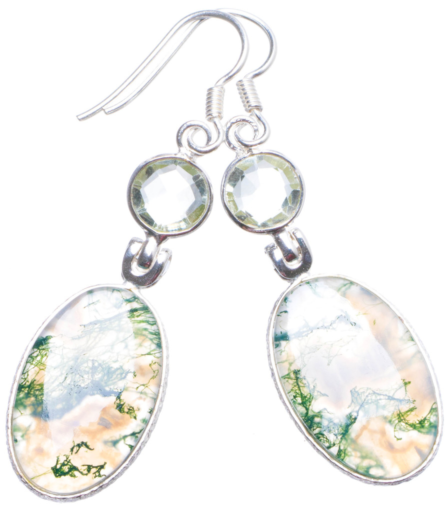Natural Moss Agate and Green Amethyst Handmade Unique 925 Sterling Silver Earrings 2