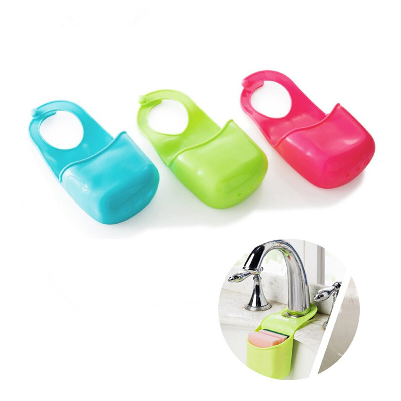 Novelty Home Kitchen Gadgets Bathroom Soap Toothbrush Razor Hanging PVC Plastic Storage Box Holder Sink Organizer image