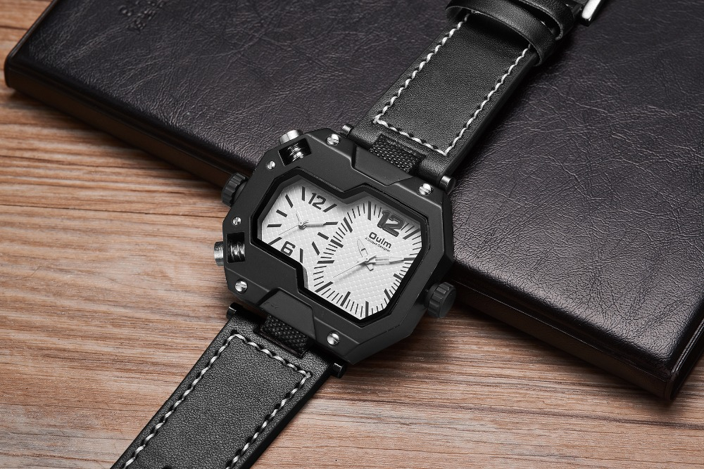 OULM Fashion Oversize Quartz Watch Men 2 Time Zone Display Unique Rectangle Dial Deisgn Leather Strap Creative Casual Wristwatch 16