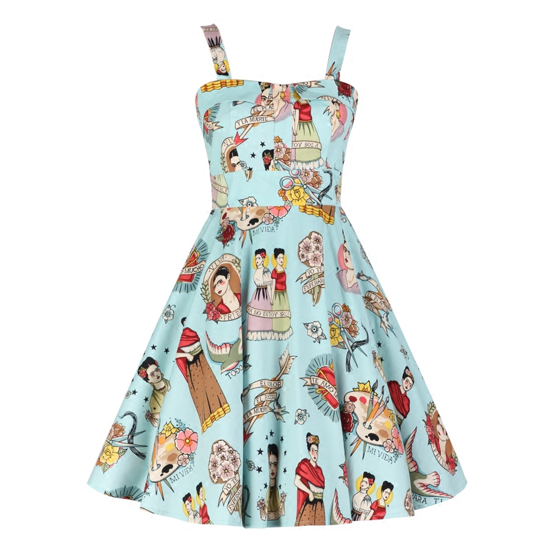 Blue Frida Kahlo Girl Summer 50s Vintage Dress Retro 50s 60s Spaghetti Strap Dress Vestido de
