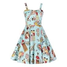 Blue Frida Kahlo Girl Summer 50s Vintage Dress Retro 50s 60s Spaghetti Strap Dress Vestido de Festa JD090