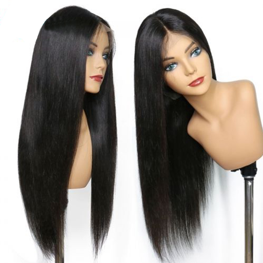 Brazilian Straight Human Hair Wigs Remy Hair 13*4 Lace Front Wig With Baby Hair Around 150% Density Natural Color Middle Part-in Human Hair Lace Wigs from Hair Extensions & Wigs    1