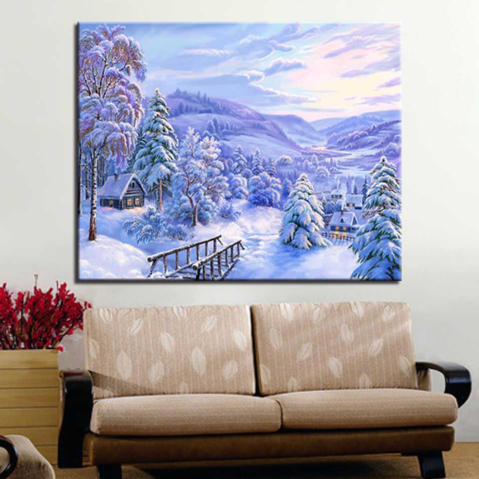 DIY 数字キットによる描画着色冬の森の家建物写真アクリル手にペイントキャンバス家の装飾