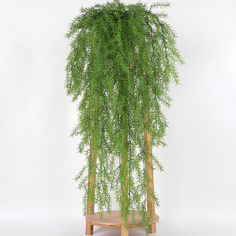 105CM Real Touch Artificial Wall Hanging Plant Artificial Pine Needles Home Decoration Balcony Decorattion Flower Basket