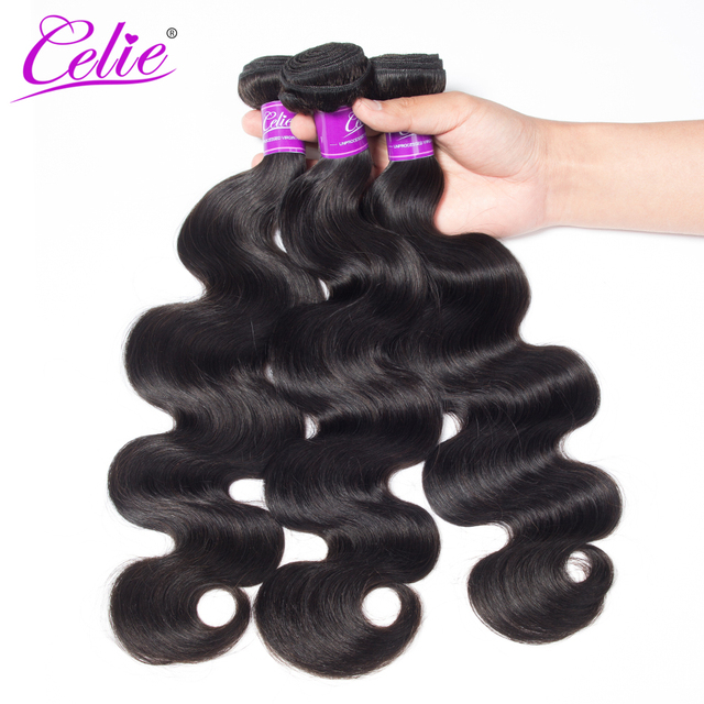 Celie Hair Malaysian Body Wave 3 Bundles Double Sealed Hair Weave Extension Natural Black Color 100% Remy Human Hair Bundles