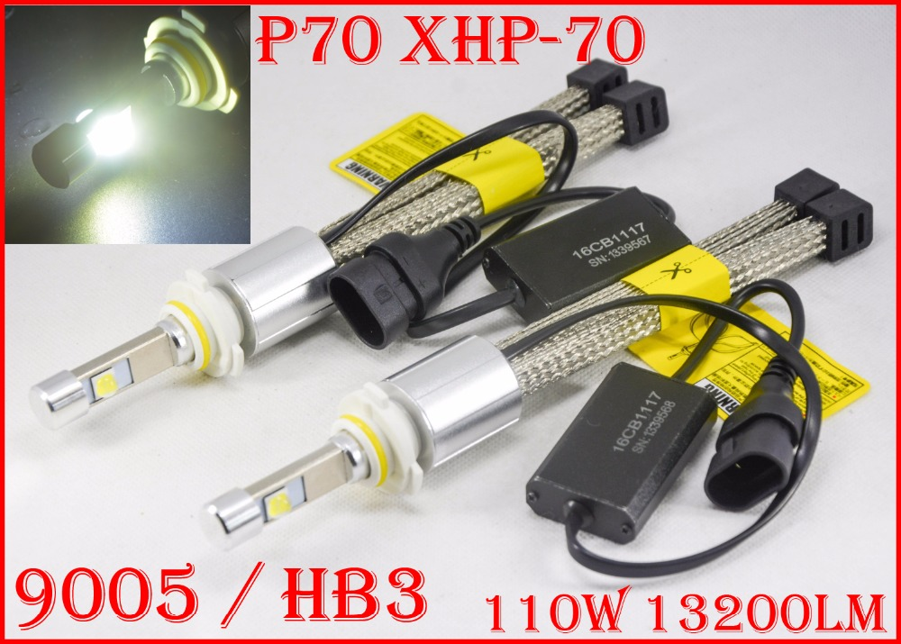 1 Set P70 110 W 13200LM 9005 HB3/9006 HB4 LED Phare Kit XHP70 Puce Sans Ventilateur SUPER Blanc 6000 K Conduite Phare H4 H8 H11 H16