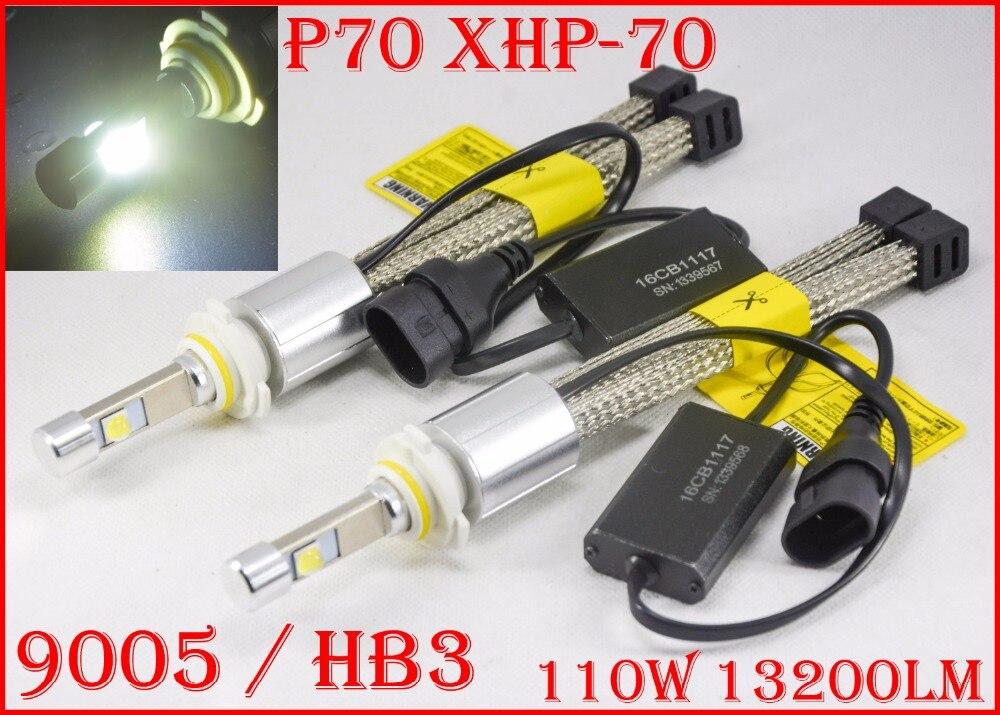 1 Set P70 110 W 13200LM 9005 HB3/9006 HB4 HA CONDOTTO il Faro Kit Circuito Integrato XHP70 Fanless SUPER White 6000 K Guida Del Faro H4 H8 H11 H16