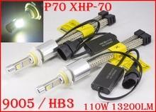 1 Set P70 110W 13200LM 9005 HB3/9006 HB4 Kit de faros delanteros LED XHP70 Chip sin ventilador SUPER blanco 6000K conducción faro H4 H8 H11 H16