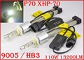 1 Set P70 110W 13200LM 9005 HB3 / 9006 HB4 LED Headlight Kit XHP70 Chip Fanless SUPER White 6000K Driving Headlamp H4 H8 H11 H16