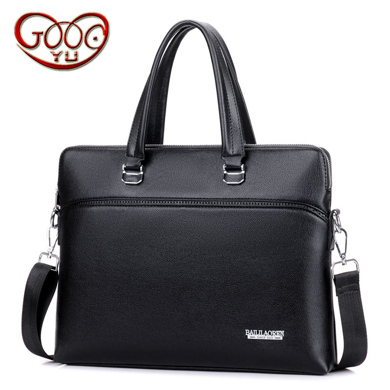 New Men's PU Leather Cross-section Business Official Computer Bag Best-selling Zipper Large-capacity Handbag
