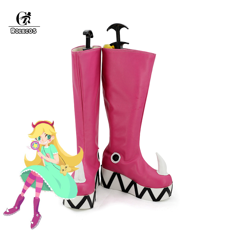 ROLECOS Anime Star vs les Forces du mal Cosplay chaussures couleur rose bottes Kawaii femmes chaussures décontractées femmes Cosplay chaussures