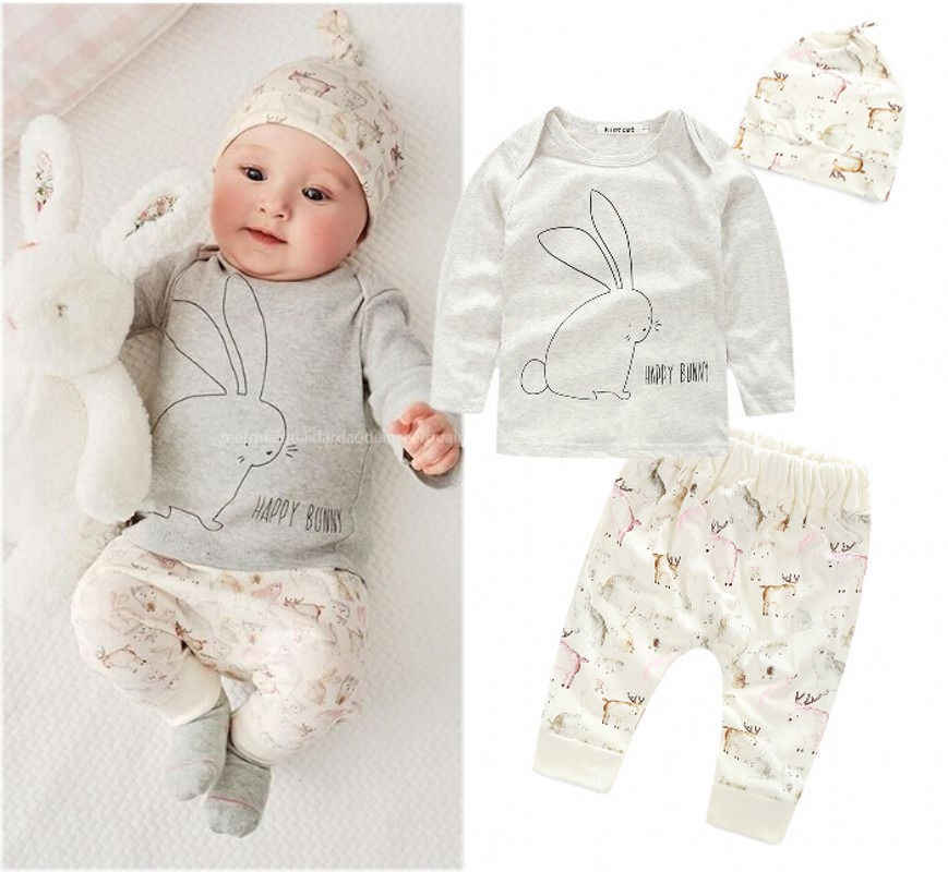 dbb3972fc9de Detail Feedback Questions about 3PCS Cute Baby Kids Girls Newborn Long  Sleeve T shirt+Pants+Hat Outfits Set Infant Bunny Costume Toddler Baby  Children ...