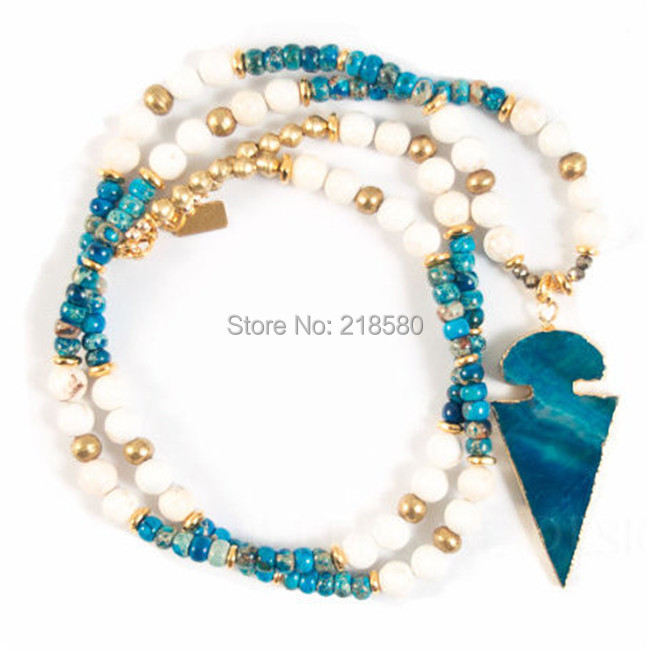 N15013106 Howlite, Imperial Sediment Stone Stones Beaded Blue Agates Arrowhead Pendant Necklace