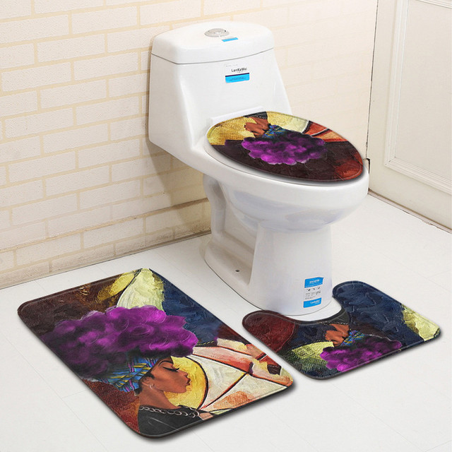 Art Home Decor 3pcs African Women With Purple Hair Skidproof Toilet Seat Cover Bath Mat Lid