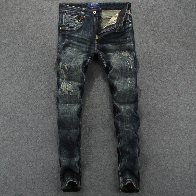 Men`s Dark Jeans Slim Fit Denim Ripped Pants Uomo Mid Stripe High Quality Designer Brand Clothing Moto Biker Jeans Men RL625 classic mid stripe men s buttons jeans ripped slim fit denim pants male high quality vintage brand clothing moto jeans men rl617