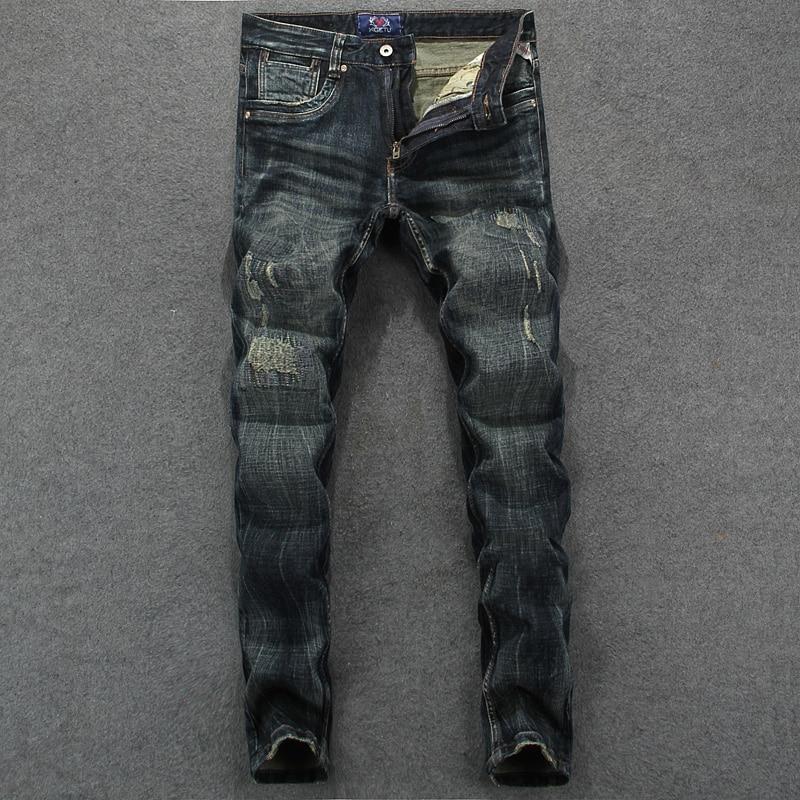ФОТО Mens Dark Jeans Slim Fit Denim Ripped Pants Uomo Mid Stripe High Quality Designer Xigetu Brand Clothing Moto Jeans Men RL625