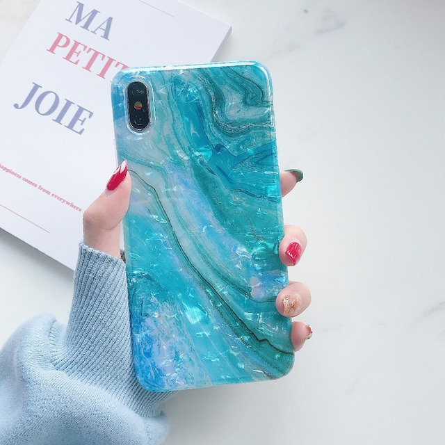 Soft TPU Glitter Marble Case For iPhone