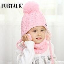 FURTALK, детская зимняя шапка с помпоном, комплект с шарфом для девочек и мальчиков, детская трикотажная шапка, мягкая теплая шапка с помпонами и ушками, Милая зимняя детская шапка