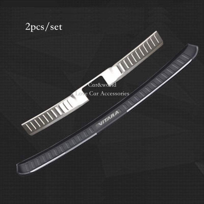 For 2015 2016 Suzuki Vitara Rear Bumper Protector Sill Trunk Guard Cover Plate Cover Trim Stainless Steel Car Styling Accessory car covers 304 stainless steel internal external rear bumper protector sill fit for 2015 2017 suzuki vitara car styling