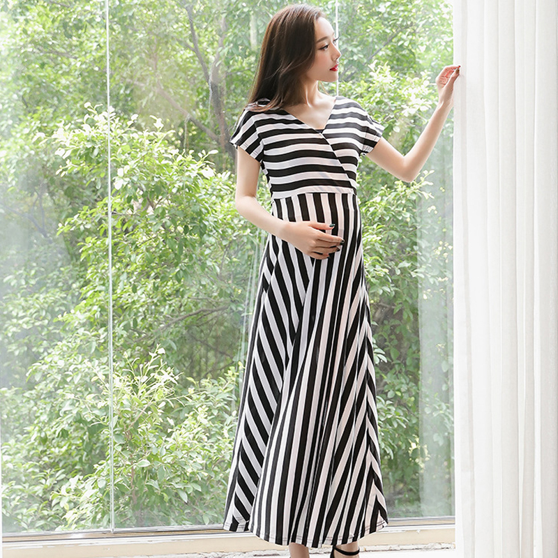 pregnancy dress maternity dresses clothes for pregnant women dress summer fashion striped dresses mother woman clothing twotwinstyle striped dress female deep v neck long sleeve slim bandage summer dresses for women hollow out ol style fashion tide