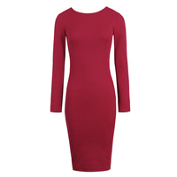 Sisjuly 2017 Autumn Female Red Bodycon Dresses Hollow Out Party Dresses Pencil Burgundy Dress Spring Full