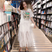 2019 Fashion Brand Summer sequined Print Dress Tee Long Mesh Patchwork Dresses Loose White Dress Women