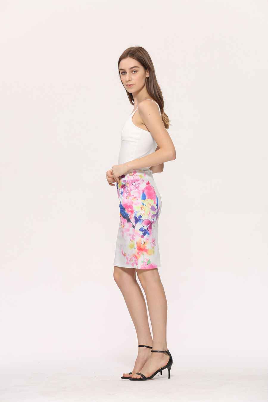 Elegant Office Pencil White Floral Bird Print High Waisted Skirt