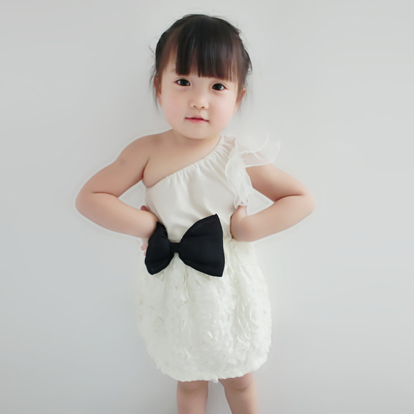 Girl Kids Summer One Shoulder Design Lace Bow Pageant Dress For Age 1-7Y