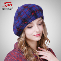 DINISITON New Fashion Cashmere Women Beret Wool Hat Knitted Winter Warm Fox Fur Hats Female High