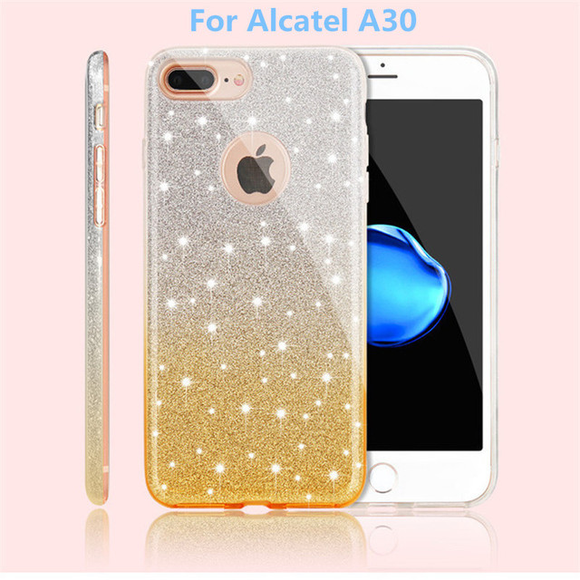 For Alcatel Walters Fierce 2017 Metropcs For Alcatel A30 Metropcs Gradient  Color Bling Glitter Shiny Case hybrid 3 in 1 cases -in Half-wrapped Case