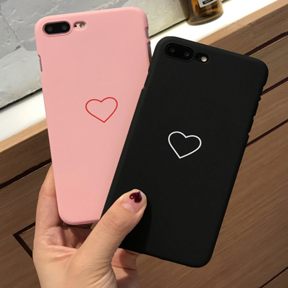 Love Heart Phone Case For iphone 7 Case For iphone 6 S 6S 7Plus 5 5S Se 8 8Plus X Xs Max Xr Hard Cover Black Pink Couple Cases