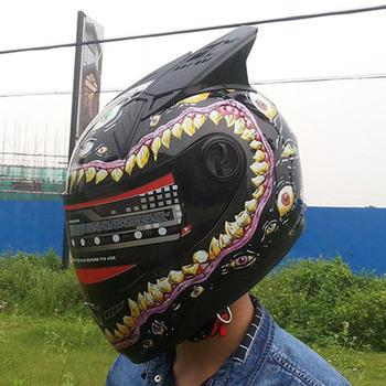 Malushun wielkie oczy kask motocyklowy męski kask fullface kobiet zwierząt rogi czarny kask wysokiej jakości w stylu vintage kask tanie i dobre opinie Wstrząsoodporny Gąbka Unisex Full Face 1 5kg