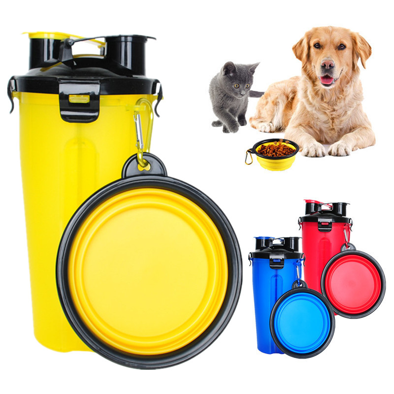 Portable Dog Pet Travel Collapsible Food Water Bowls Pets: Portable Pet Dog Food Water Storage Travel Bottle Cup Pet