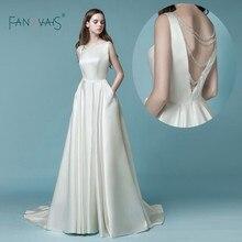 ซาตินชุด 2019 vestido de noiva simples gelinlik งานแต่งงานกับ Pocket Ivory Backless คริสตัลชุดเจ้าสาว