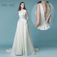 Satin Wedding Dress 2018 vestido de noiva simples gelinlik Simple Wedding Dresses With Pocket Ivory Backless Crystal Bridal Gown