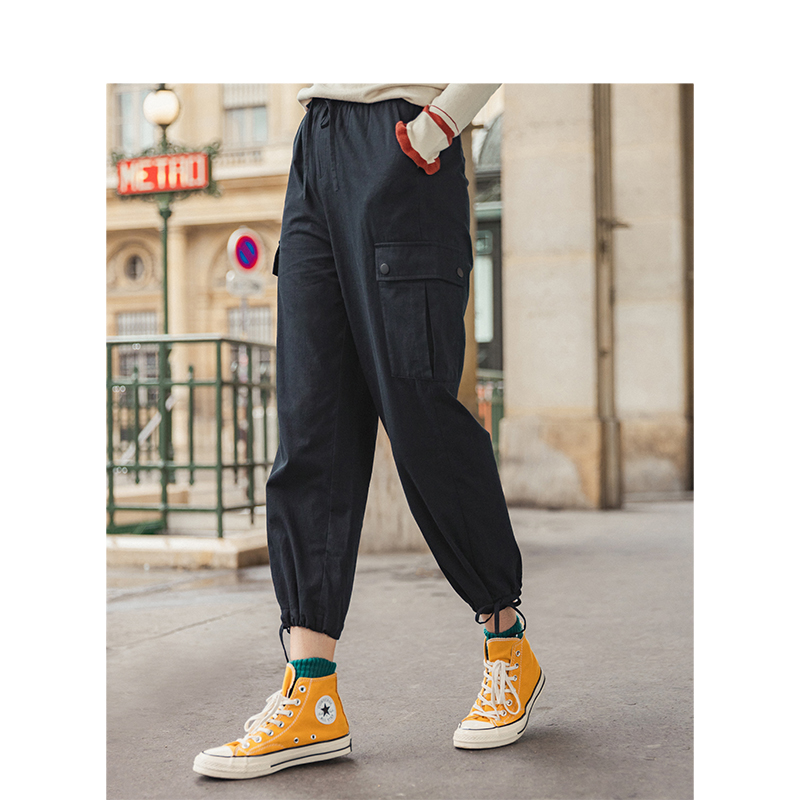 INMAN 2019 Autumn New Arrival 100%Cotton Solid Elastic Waist Pocket Fashion Cool Women Cargo Pants