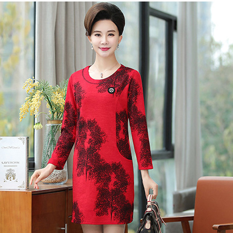 2019 new mother dress long sleeve dress middle aged printed round neck skirt P9133