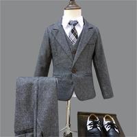 Winter Boys Gray Blazer 3 pcs/set Wedding Suits for Boy Formal Dress Suit Boys wedding suit Kid Tuxedos Page boy Outfits 3pieces