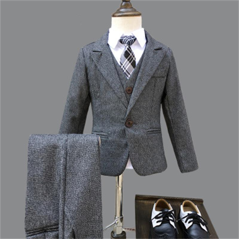 Winter Boys Gray Blazer 3 pcs/set Wedding Suits for Boy Formal Dress Suit Boys wedding suit Kid Tuxedos Page boy Outfits 3pieces boys suits 3 piece wedding suit prom page boy baby formal party 3 colours