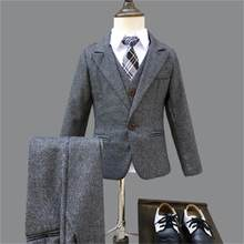 Winter Boys Gray Blazer 3 pcs/set Wedding Suits for Boy Formal Dress Suit Boys wedding suit Kid Tuxedos Page boy Outfits 3pieces(China)