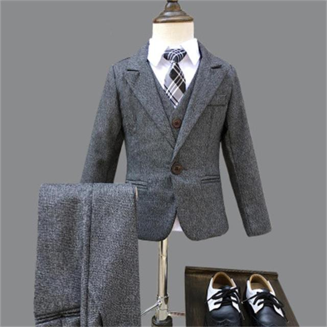 2150a2bc1903e Zima Chłopcy Szary Blazer 3 sztuk/zestaw Garnitury Ślubne dla Chłopca  Formalna suknia ślubna Garnitur