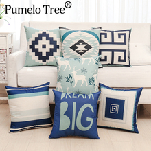 Wholesale Cute Wildlife Reindeer Bear Pattern Cushion Cover Decorative Beige Polyester Throw Pillow Cases Capa Almofada
