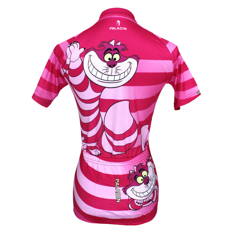 Mouth Cat Design Short Sleeved Cycling Jersey Women's Spring and Summer Sports Jerseys Pink Road mountain bike jerseys